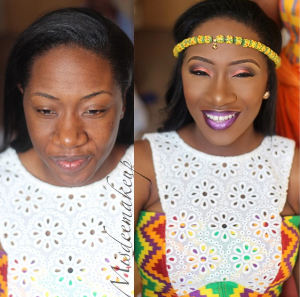 LoveweddingsNG Before and After Misdee Makeup9
