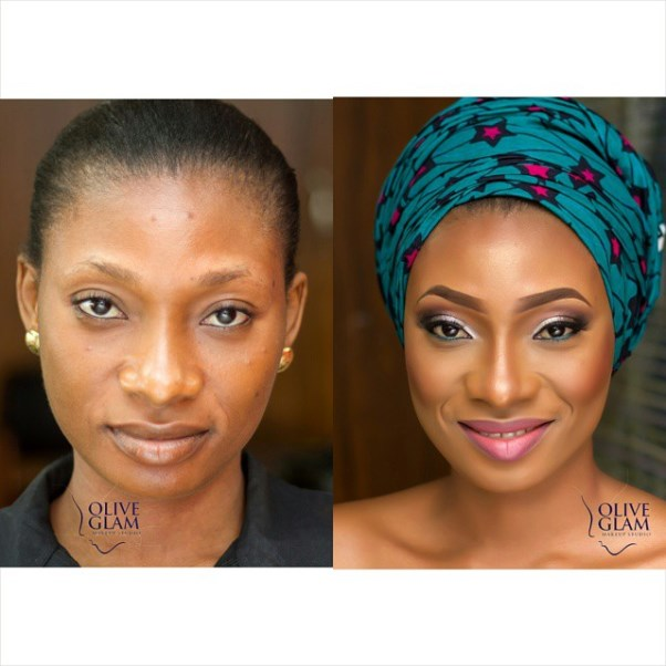 LoveweddingsNG Before and After - Olive Glam Studio