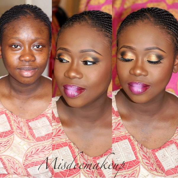 LoveweddingsNG Before and After Misdee Makeup8