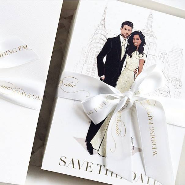 Wedding Invites for a Dubai-based bride. Illustrations by Megan Hess | Instagram. Stationery by Wedding Paper Chic | Instagram
