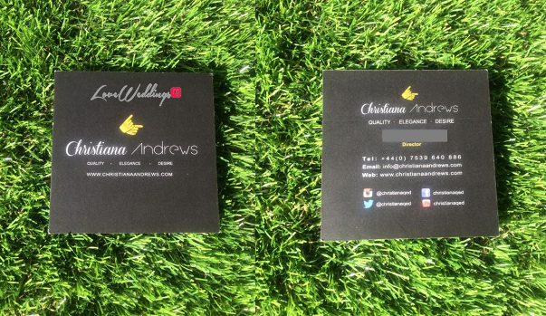 LoveweddingsNG Business Cards - Christiana Andrews QED