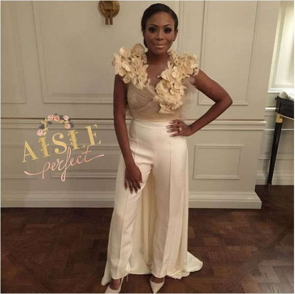 Marcy Dolapo Oni & Gbite Sijuwade's White Wedding LoveweddingsNG - bridal jumpsuit