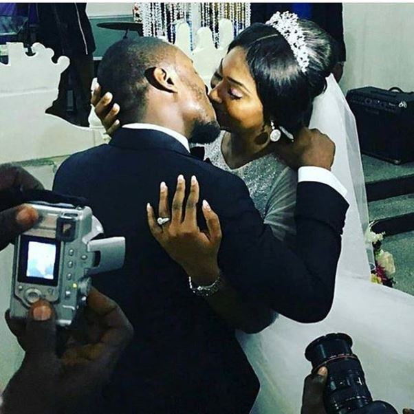 Lilian Esoro & Ubi Franklin White Wedding LoveweddingsNG - first kiss