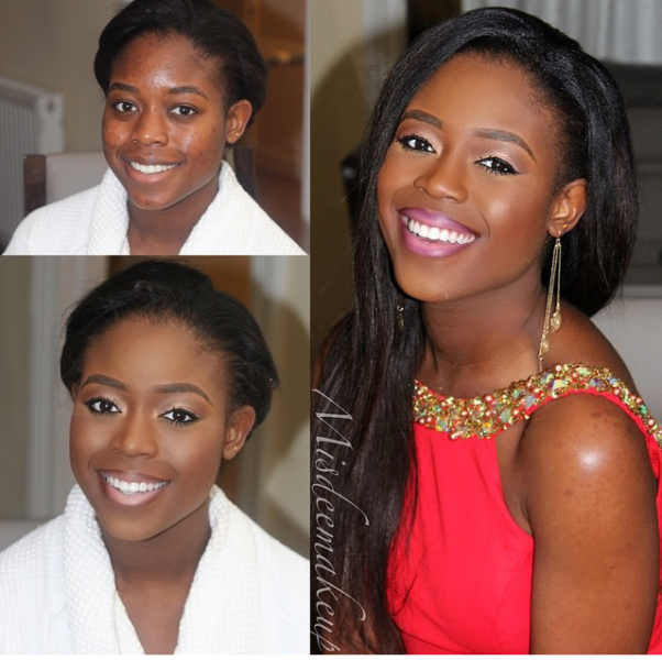LoveweddingsNG Before and After Misdee Makeup