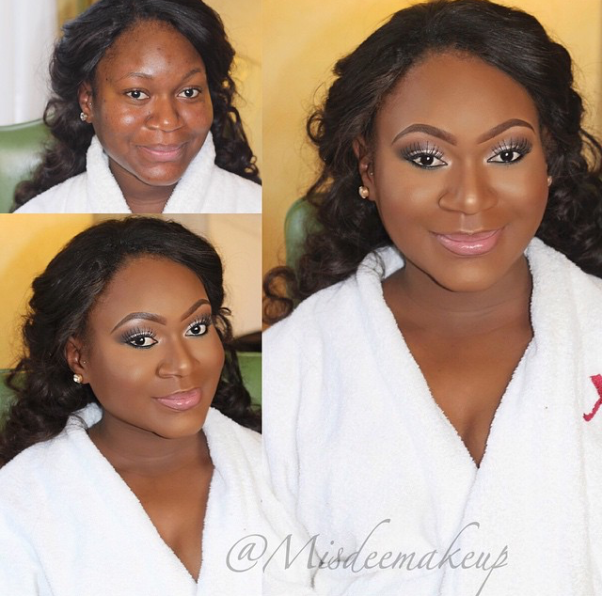 LoveweddingsNG Before and After Misdee Makeup2