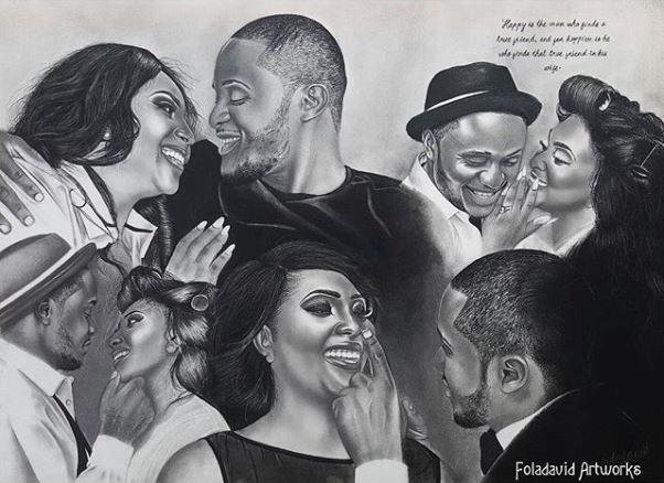 Nigerian Wedding Illustration Sketch - Ubi Franklin Lilian Esoro Fola David LoveweddingsNG1