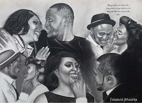 Nigerian Wedding Illustration Sketch - Ubi Franklin Lilian Esoro Fola David LoveweddingsNG5