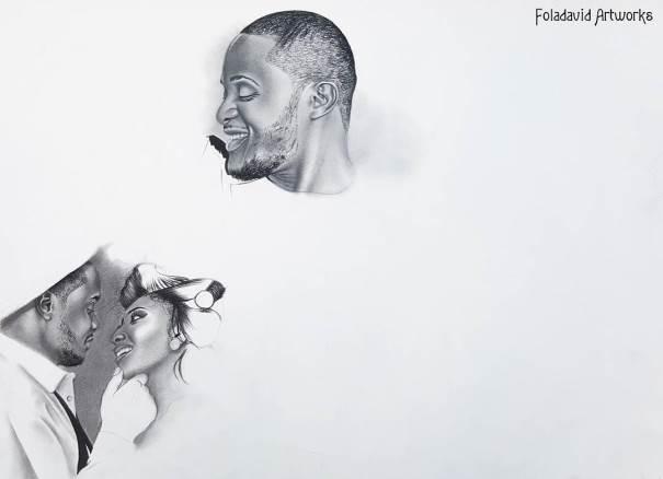 Nigerian Wedding Illustration Sketch - Ubi Franklin Lilian Esoro Fola David LoveweddingsNG6