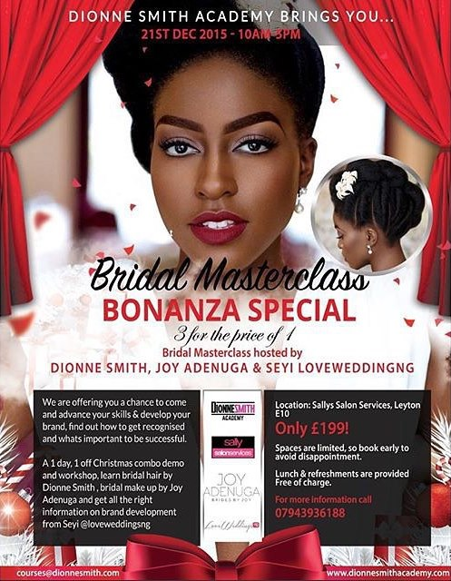 Dionne Smith Academy Bridal Masterclass LoveweddingsNG flyer
