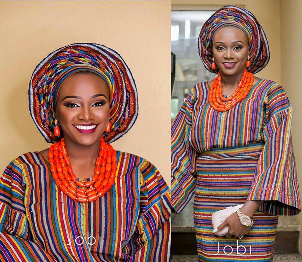 Nigerian Traditional Aso Oke Bridal Outfit LoveweddingsNG