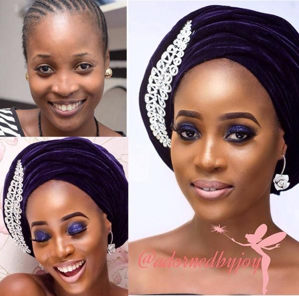 Nigerian Bridal Makeover - Before and After - Adorned by Joy LoveweddingsNG