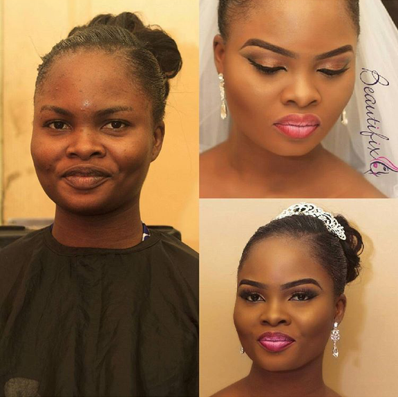Nigerian Bridal Makeover - Before and After - Beautifixx LoveweddingsNG
