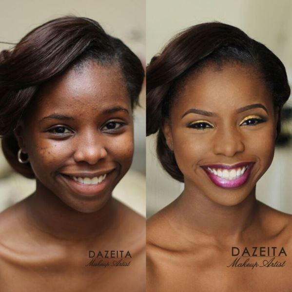 Nigerian Makeovers - Before and After Dazeita Makeup Artist LoveweddingsNG