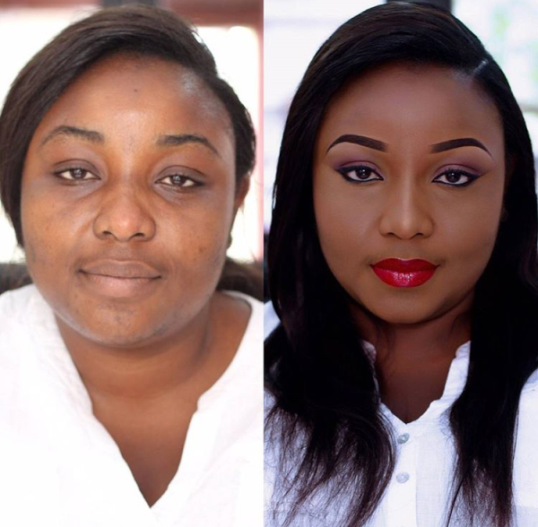 Nigerian Makeovers - Before and After Tints Makeup Pro LoveweddingsNG