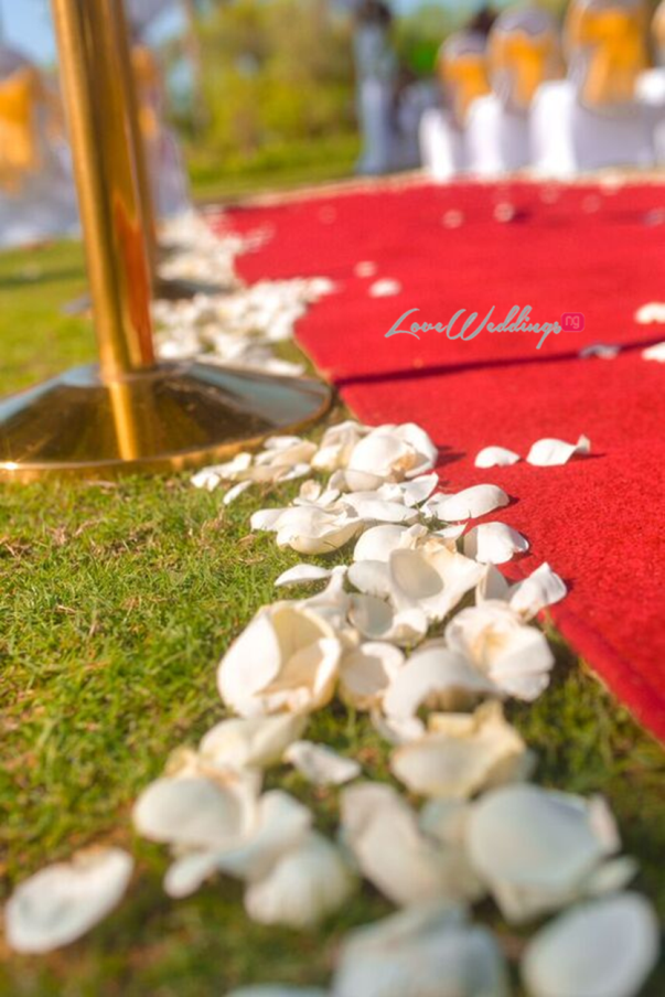 Nigerian Wedding in Dubai Aisle Petals LoveweddingsNG Save The Date
