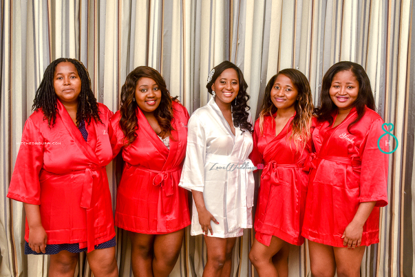 Nigerian Wedding in Dubai Bride and bridesmaids in robe LoveweddingsNG Save the Date