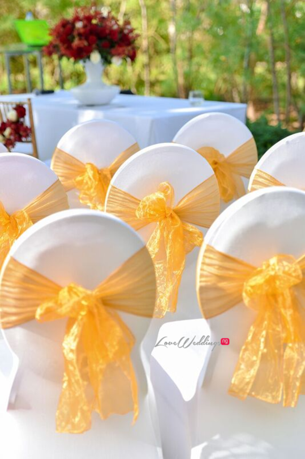 Nigerian Wedding in Dubai Chair Covers LoveweddingsNG Save the Date