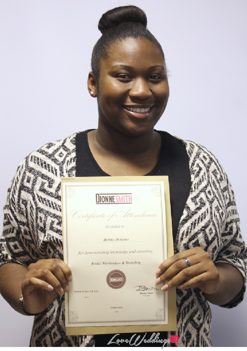 The Bridal Masterclass by Dionne Smith Academy - LoveweddingsNG Certificates 4