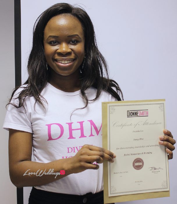 The Bridal Masterclass by Dionne Smith Academy - LoveweddingsNG Certificates
