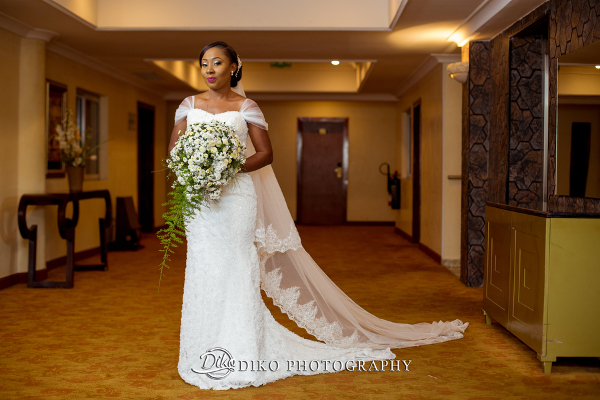 Nigerian Bride Gown and Bouquet Grace and Pirzing LoveweddingsNG Diko Photography