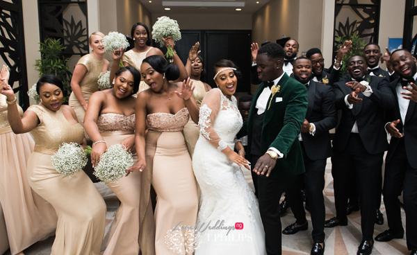 Nigerian Ghanaian White Wedding Abi and Olivia Bridal Party LoveweddingsNG