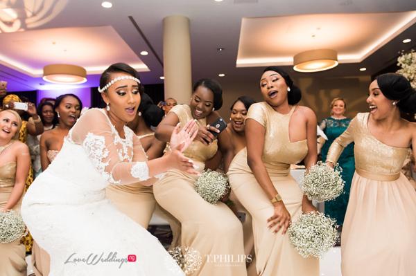 Nigerian Ghanaian White Wedding Abi and Olivia Bride and Bridesmaids Dancing LoveweddingsNG