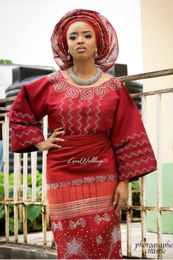 Nigerian Traditional Bride Red Aso Oke Inspiration LoveweddingsNG 3