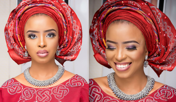 Nigerian Traditional Bridal Red Aso Oke Look
