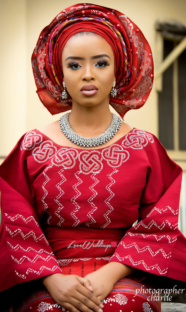 Nigerian Traditional Bride Red Aso Oke Inspiration LoveweddingsNG