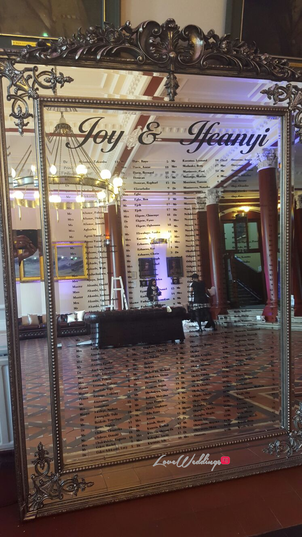 Nigerian Wedding Mirror Seating Plan Joy and Ifeanyi Perfect Events LoveweddingsNG