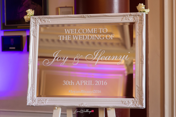 Nigerian Wedding Mirror Welcome Sign Joy and Ifeanyi Perfect Events LoveweddingsNG