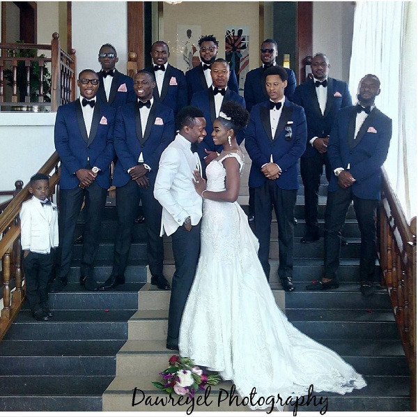 Onazi Ogenyi Sandra Ogunsuyi White Wedding Photos Couple and Bridal Train LoveweddingsNG