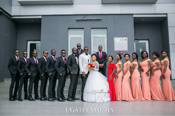 Nigerian Bride, Groom and Bridal Train Odera & Daniel Trendybee Events LoveweddingsNG 2