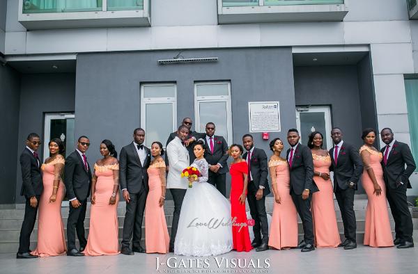 Nigerian Bride, Groom and Bridal Train Odera & Daniel Trendybee Events LoveweddingsNG
