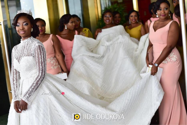 Nigerian Bride and Bridesmaids Kunbi Oyelese of April by Kunbi Wedding Pictures LoveweddingsNG