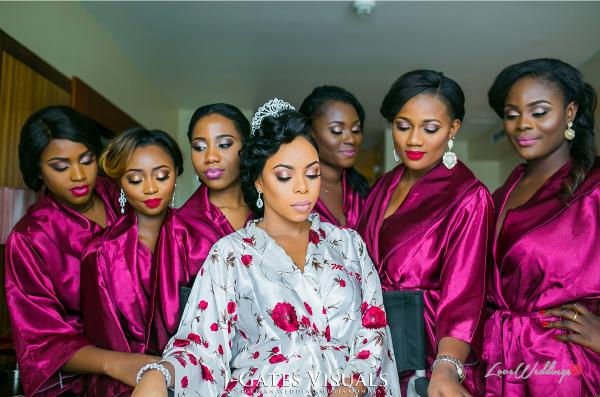 Nigerian Bride and Bridesmaids in Robes Trendybee Events LoveweddingsNG 1
