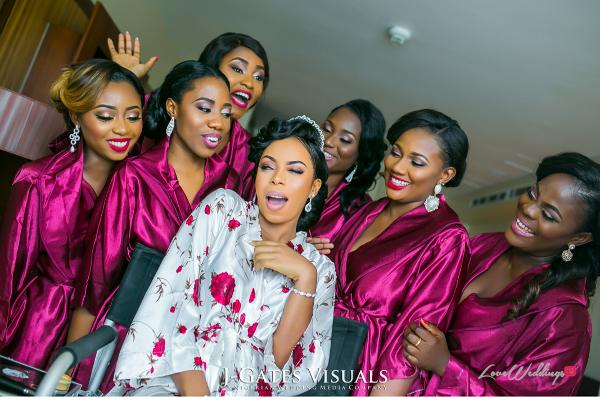 Nigerian Bride and Bridesmaids in Robes Trendybee Events LoveweddingsNG 2