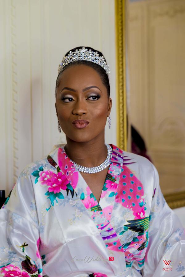 Nigerian Wedding in London Seun and Segun Bridal Robe LoveweddingsNG Dazzitto Photography