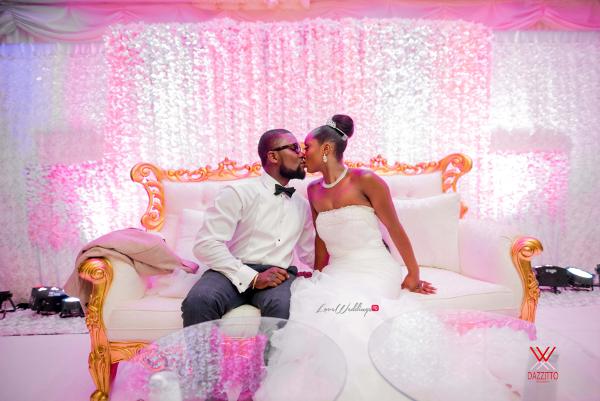 Nigerian Wedding in London Seun and Segun Bride and Groom Kiss LoveweddingsNG Dazzitto Photography 1