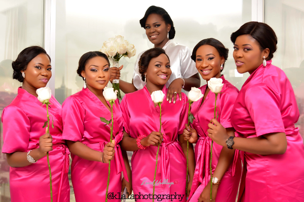 Nigerian White Wedding - Bride and Bridesmaids Robe Folake and Ifeoluwa Klala Photography LoveweddingsNG