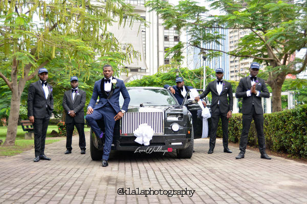 Nigerian White Wedding - Bride and Groom and Groomsmen Snapback Folake and Ifeoluwa Klala Photography LoveweddingsNG