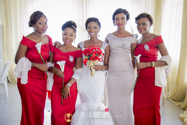 Nigerian White Wedding Bride and Bridesmaids Lamide and Biodun Seun Kilanko Studios LoveweddingsNG