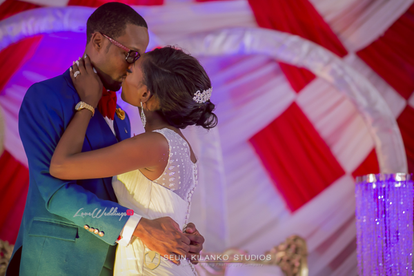 Nigerian White Wedding Bride and Groom Kiss Lamide and Biodun Seun Kilanko Studios LoveweddingsNG