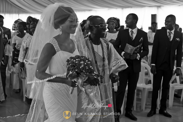 Nigerian White Wedding Bride and father Lamide and Biodun Seun Kilanko Studios LoveweddingsNG