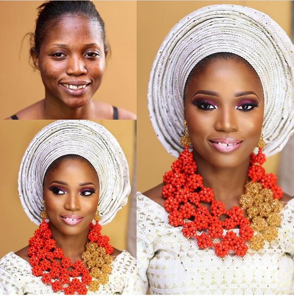 Nigerian Bridal Makeup Before and After Zainab Azeez LoveweddingsNG