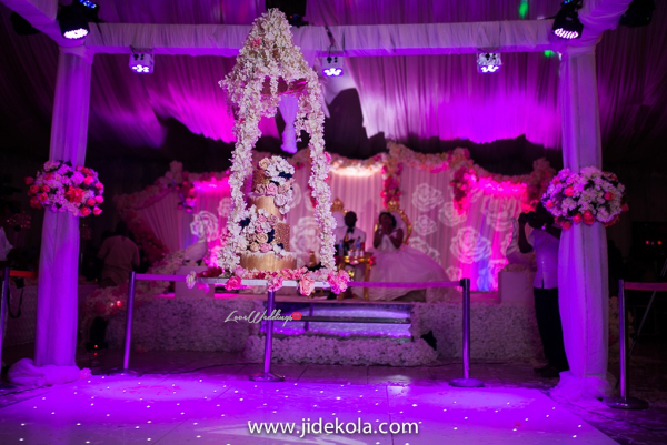 Nigerian Suspended Wedding Cake Grand Entrance - Prince Kasali and Olori Abisoye Jide Kola LoveWeddingsNG