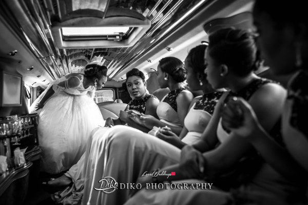 Nigerian Bride and bridesmaids in limo Toyosi Ilupeju and Wole Makinwa WED Dream Wedding Details Diko Photography LoveWeddingsNG 2