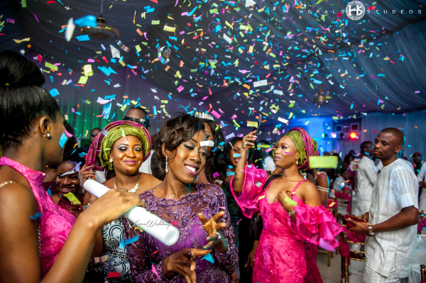 Nigerian bride dancing confetti Tosin and Hassan Herald Studeos LoveWeddingsNG
