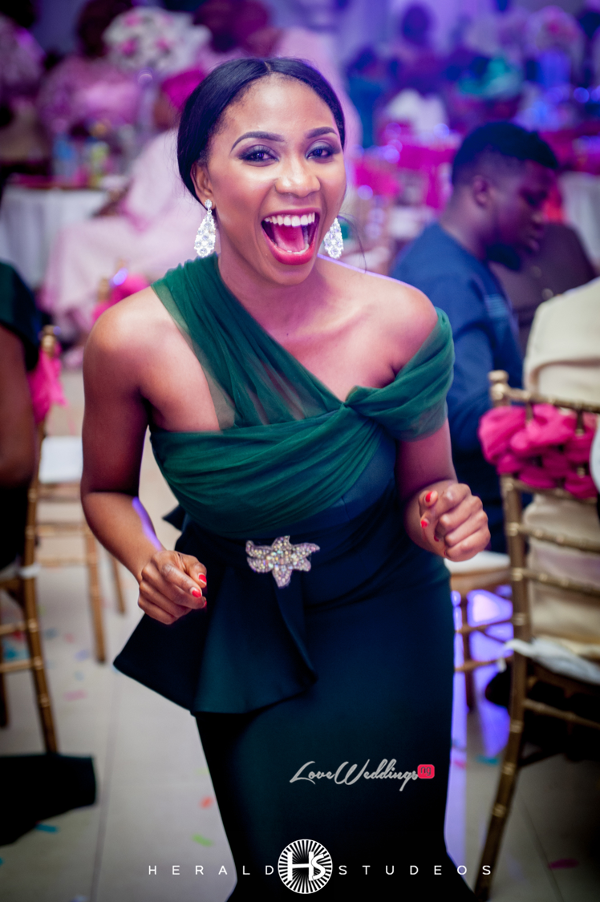 Nigerian bridesmaid dancing Tosin and Hassan Herald Studeos LoveWeddingsNG