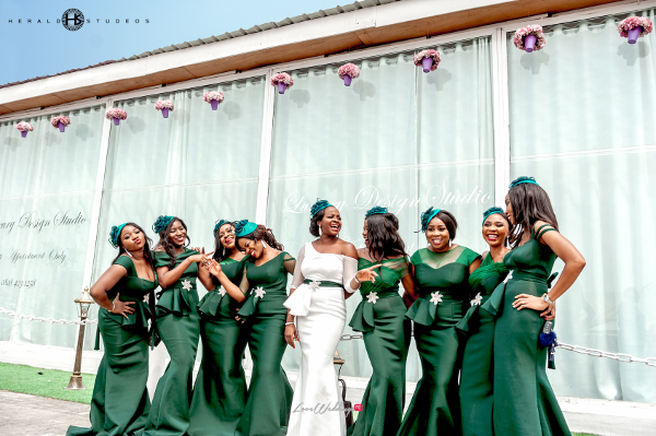 Nigerian bridesmaids in green Tosin and Hassan Herald Studeos LoveWeddingsNG